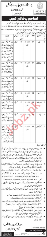Board Of Intermediate Education Karachi Jobs 2019