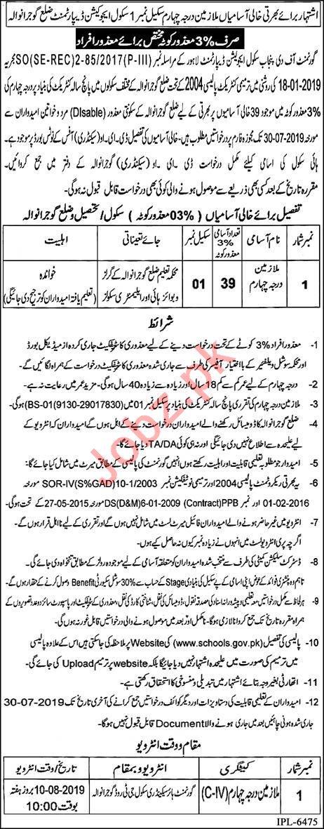 Govt of the Punjab School Education Department Lahore Jobs