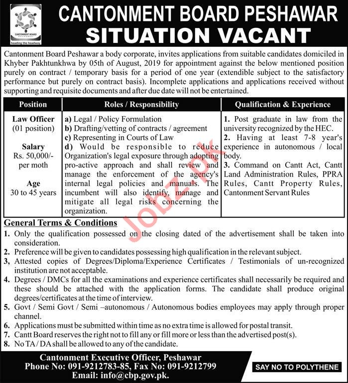 Cantonment Board CB Peshawar Jobs 2019 for Law Officer