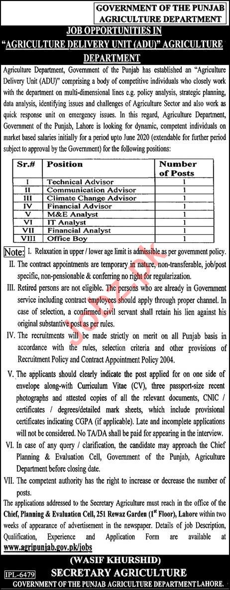 Agriculture Delivery Unit ADU Lahore Jobs 2019