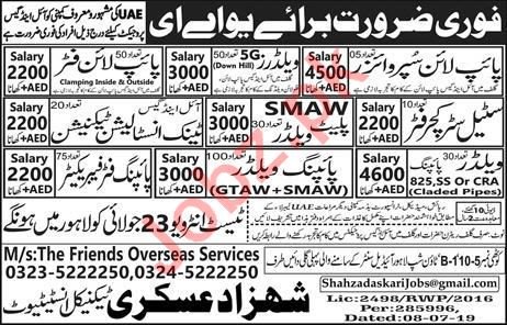 Piping Welder Pipeline Fitter Jobs 2019 In Uae 2020 Job Advertisement Pakistan