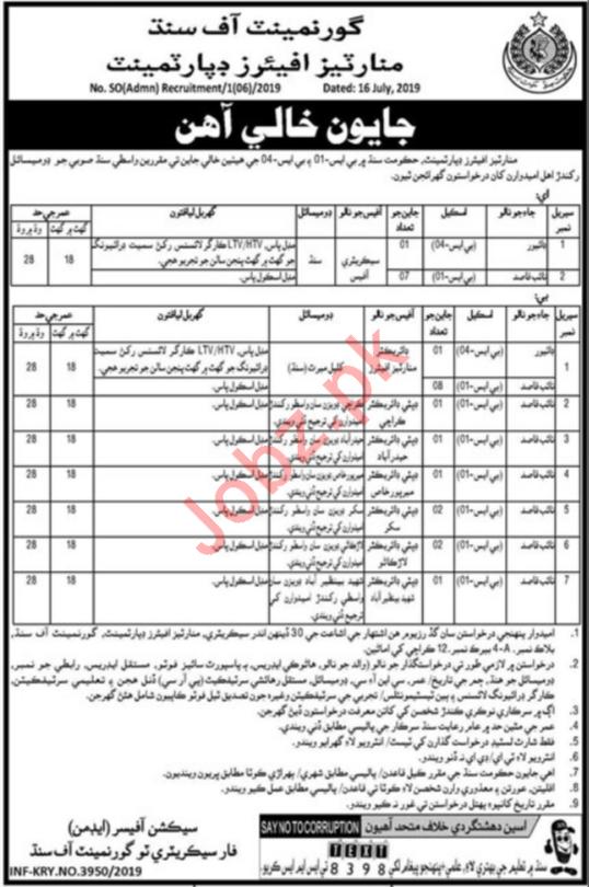 Government Of Sindh Minorities Affairs Department Jobs 2019