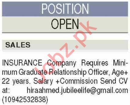 Jubilee Life Insurance Karachi Jobs for Relationship Officer