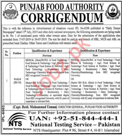 Punjab Food Authority Jobs For Analyst via NTS