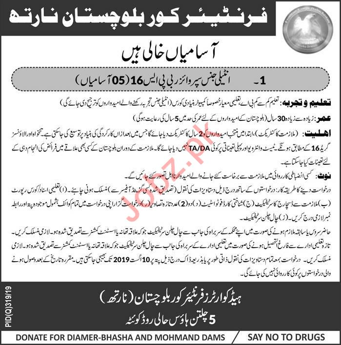 Frontier Core Balochistan Jobs For Intelligence Supervisors