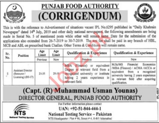 Punjab Food Authority Jobs For Assistant Directors via NTS