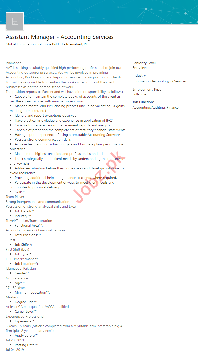 Assistant Manager Accouting Services Job 2019 in Islamabad