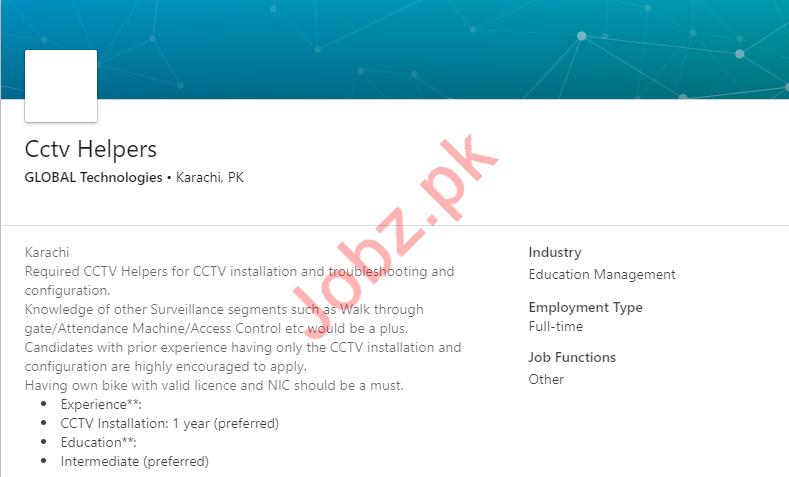 CCTV Helpers Jobs 2019 in Karachi