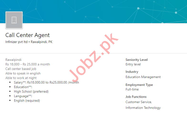 Call Center Agent Job 2019 in Rawalpindi