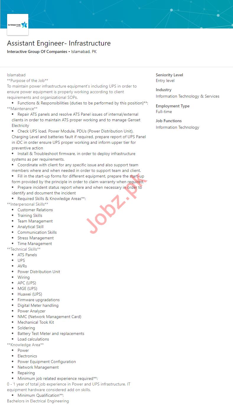 Assistant Engineer Infrastructure Job 2019 in Islamabad