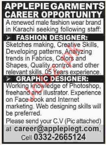 Fashion Graphic Designer Job In Karachi 2020 Job Advertisement Pakistan