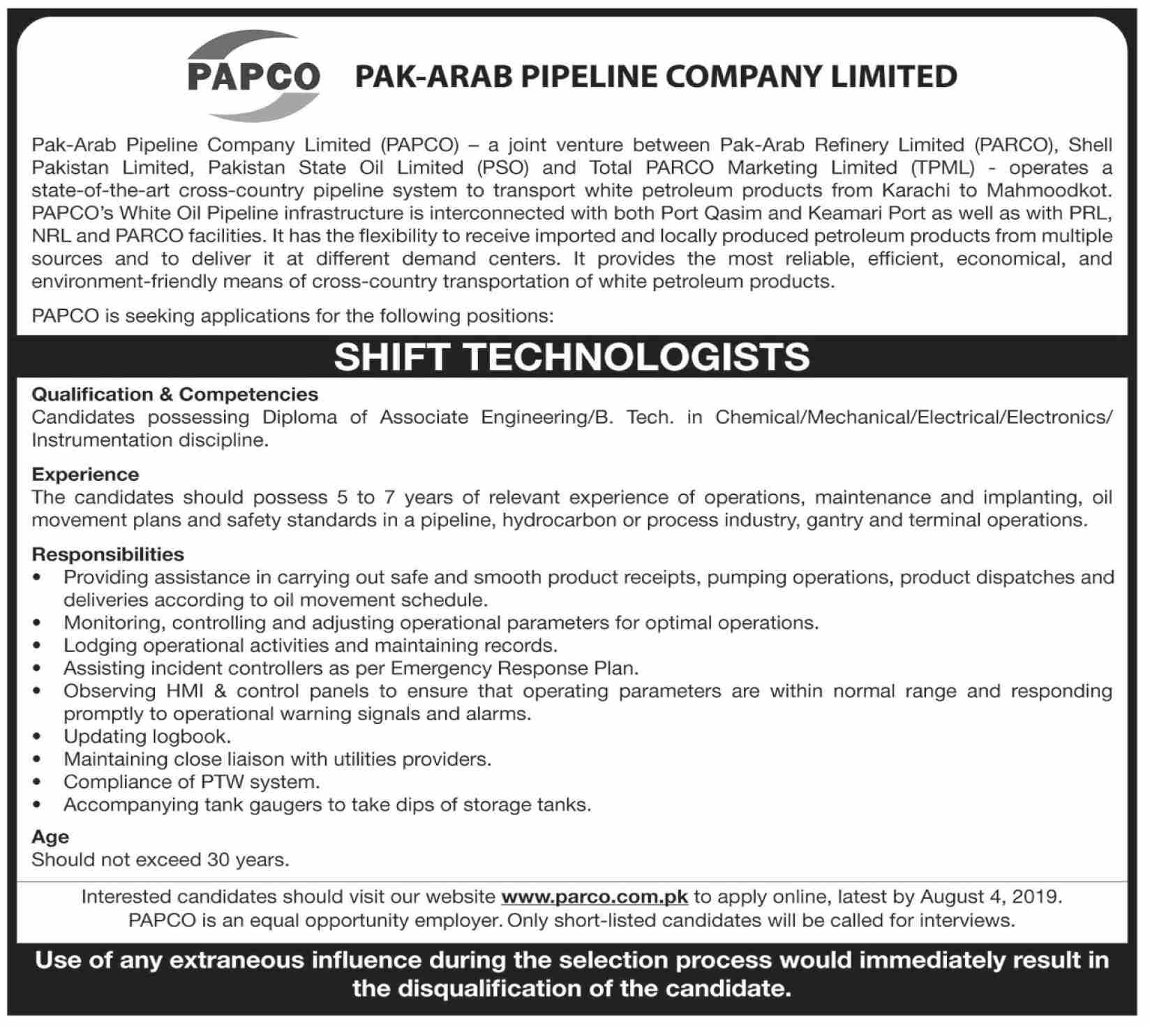 PARCO Shift Technologist Job in Karachi 2019 Job