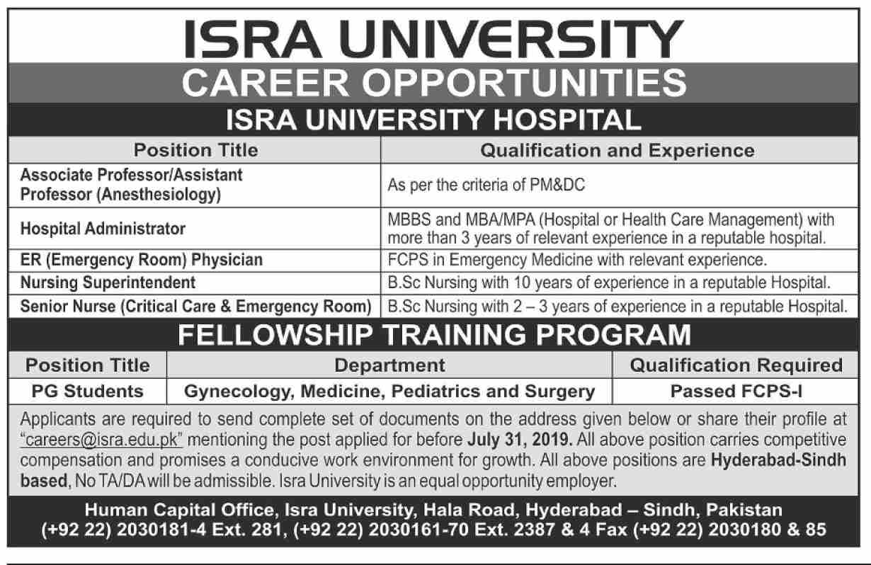 ISRA University Jobs 2019 in Hyderabad