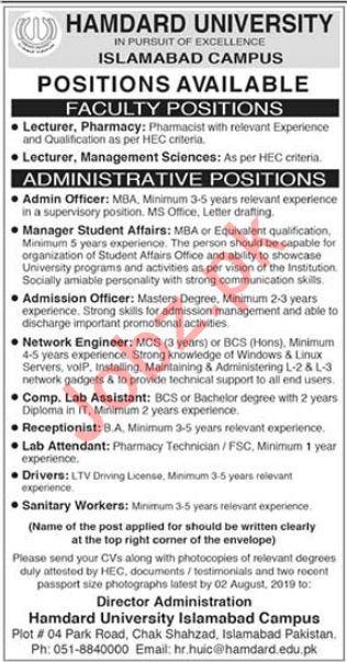 Hamdard University Faculty & Administrative Jobs 2019