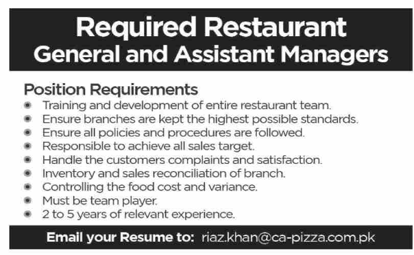 General & Assistant Manager Job in Karachi