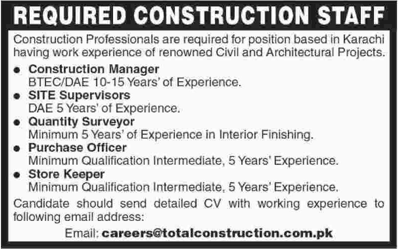 Construction Staff Job in Karachi