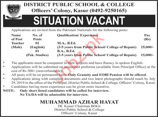 District Public School & College Teaching Jobs For Kasur