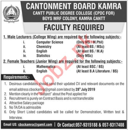 Cantt Public Degree College Boys MRF Colony Kamra Cantt Jobs