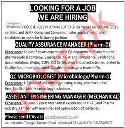 Focus & Rulz Pharmaceuticals Islamabad Jobs for Managers