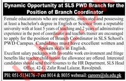 SLS Montessori & High School PWD Campus Jobs 2019