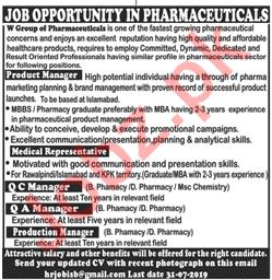 W Group of Pharmaceuticals Islamabad Jobs 2019