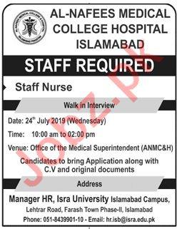 Al Nafees Medical College Islamabad Jobs 2019 for Nurse