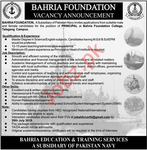 Bahria Foundation College BFC Talagang Campus Jobs 2019