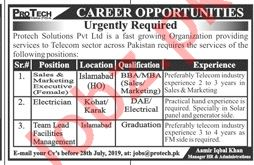 Protech Solutions Islamabad Jobs 2019 for Executives