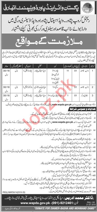 Wapda Hospital Peshawar Jobs 2019 for Naib Qasid