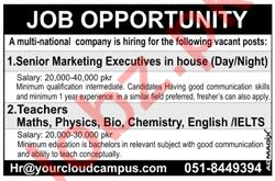 Marketing Executive & Teachers Jobs 2019