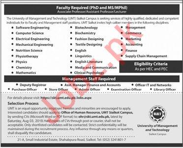 University of Management & Technology UMT Lahore Jobs 2019