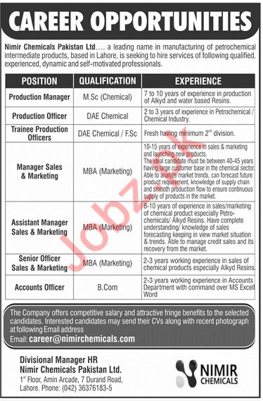 Nimir Chemicals Lahore Jobs 2019 for Managers