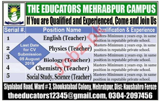 The Educators Mehrabpur Campus Teaching Jobs 2019
