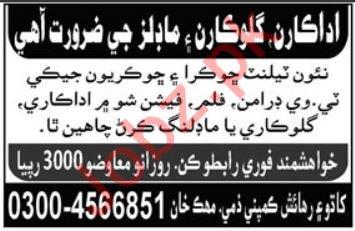 Actors, Models & Singers Jobs For Media Sector in Karachi