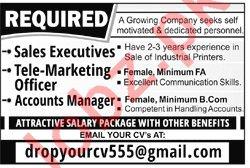 Sales Executive & Telemarketing Officer Jobs 2019
