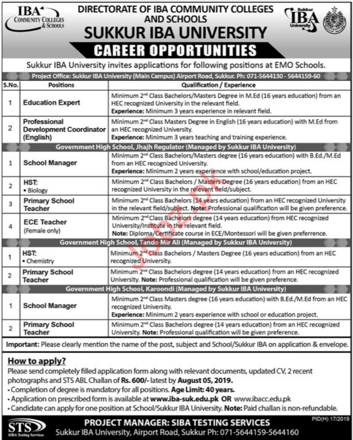 Directorate of IBA Community Colleges & Schools Jobs via STS