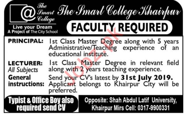 The Smart College Jobs 2019 For Khairpur