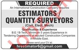 Quantity Surveyor Jobs 2019 in Lahore