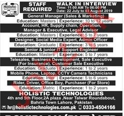 Holistic Technologies Lahore Jobs for Manager & Engineer