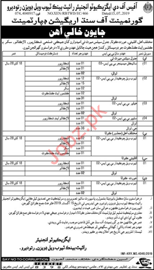 Irrigation Department Jobs in Sukkur, Larkana & Shikarpur