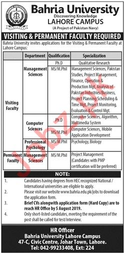 Bahria University Lahore Campus Jobs for Visiting Faculty