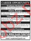 Crystal World Glass Furniture Lahore Jobs 2019