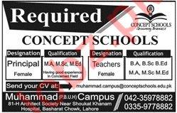 Concept Schools Muhammad Campus Lahore Jobs 2019