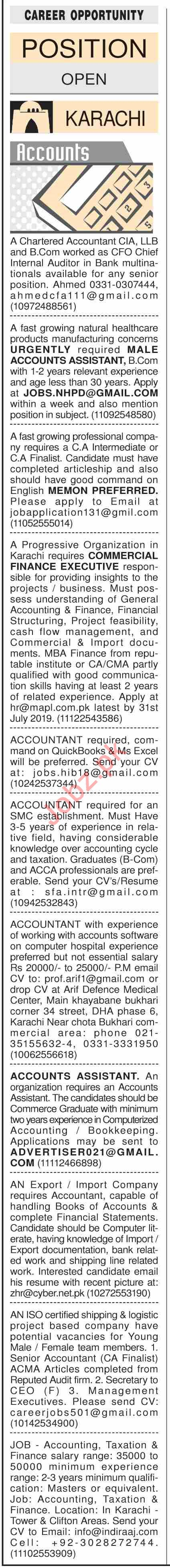 Dawn Sunday Classified Ads 21st July 2019 for Accounts