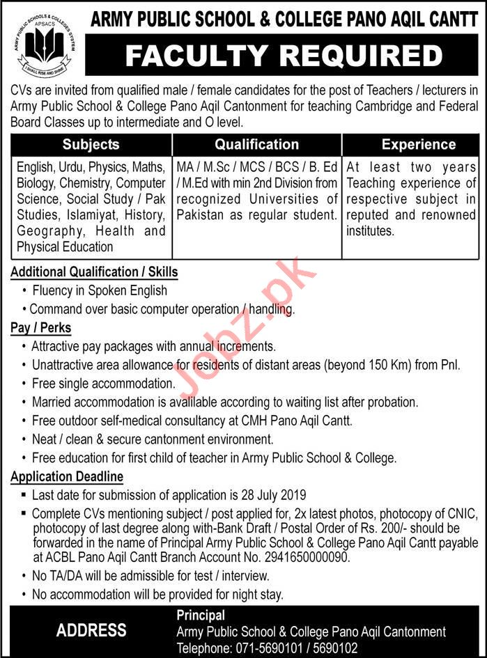 Army Public School & College Pano Aqil Cantt Jobs 2019