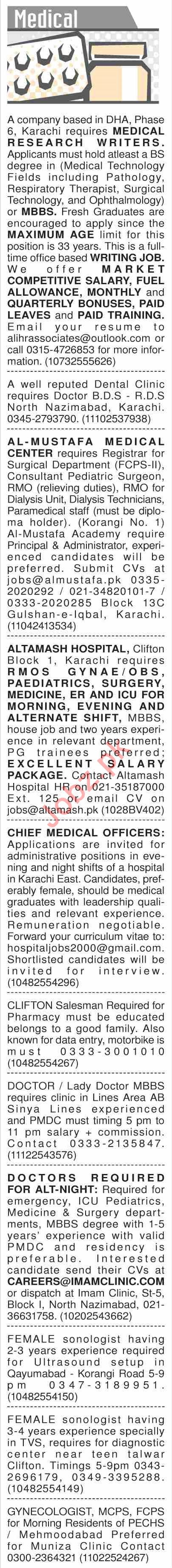 Dawn Sunday Classified Ads 21st July 2019 for Medical Staff 2019 Job
