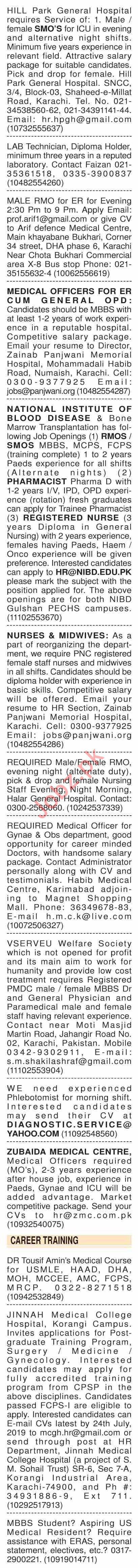 Dawn Sunday Classified Ads 21st July 2019 for Medical Staff