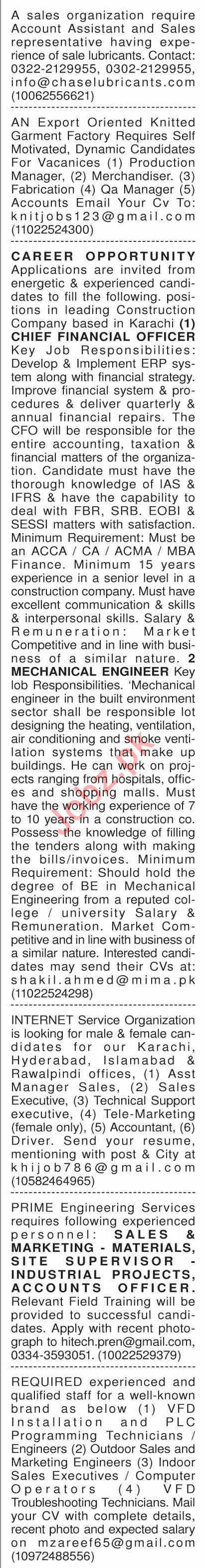 Dawn Sunday Classified Ads 21st July 2019 for Multiple Staff
