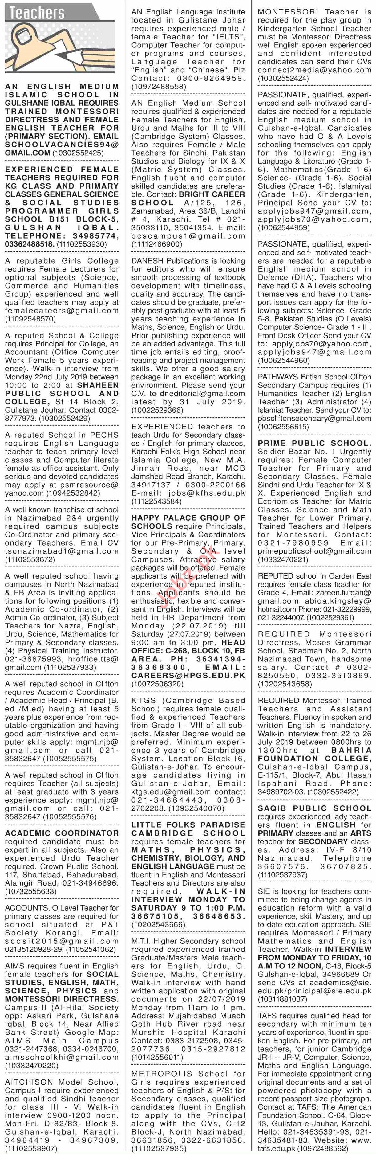 Dawn Sunday Classified Ads 21st July 2019 for Teachers 2019 Job