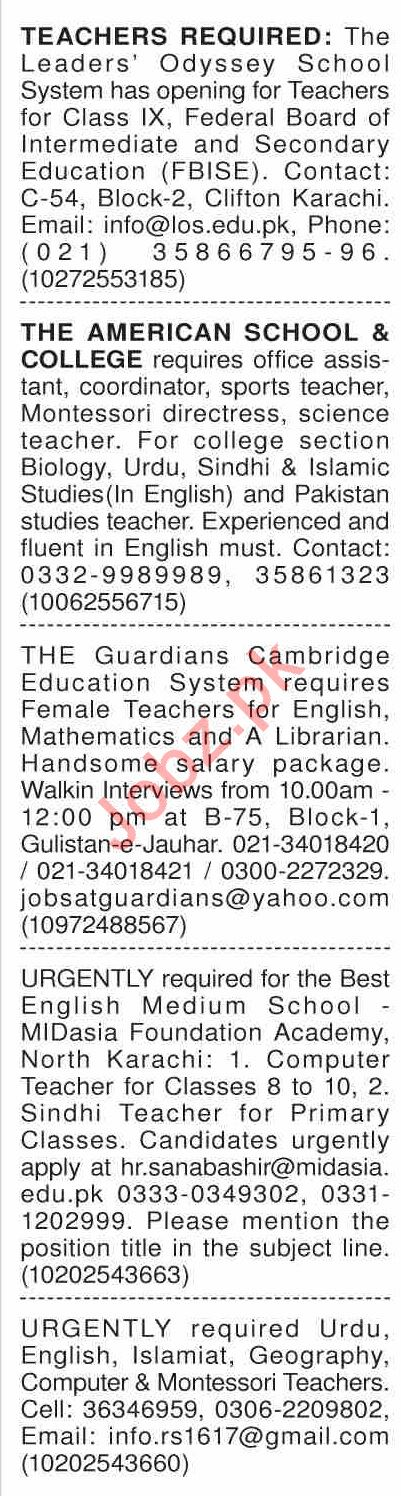 Dawn Sunday Classified Ads 21st July 2019 for Teachers